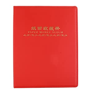 Fenteer 60 Pockets Leather Paper Money Album Collect Book Banknote Currency Collection Album Holders 10 sheets Red Durable (Color: Red, Tamaño: as described)