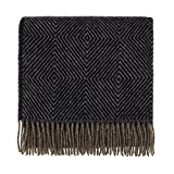 URBANARA Gotland blanket/throw - 100% pure Scandinavian virgin wool - blue/grey herringbone, 130 x 200 cm