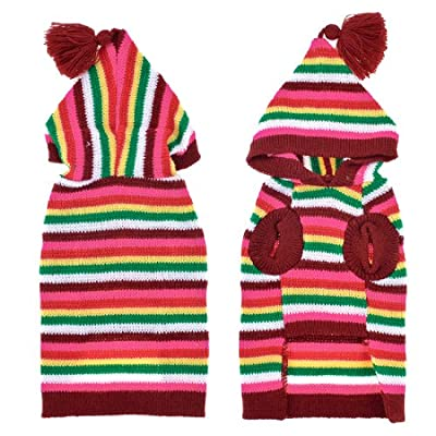 Warm Hooded Colored Striped Knitted Chihuahua Doggie Sweater Clothes L