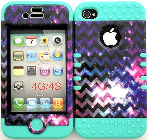 Wireless Fones Tm Bumper Case For Iphone 4 4S Star Galaxy Nebula Chevron Pattern Hard Plastic Snap On Baby Teal Silicone Gel