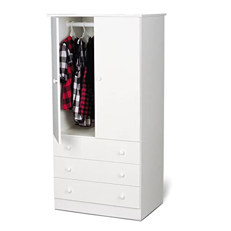 Wardrobe Armoire - Clothing Armoire Wardrobe, Also Makes a Great Bedroom Tv Stand (White)