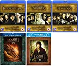 The Lord of the Rings + The Hobbit DVD (25 Discs) All 5 Movies Extended Edition Blu Ray Box Set Film Collection: The Fellowship of the Ring / The Two Towers / The Return of the King / The Unexpected Journey / The Desolation Of Smaug + Over 20 Hours of Ex