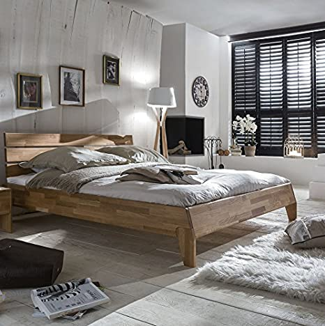Bed 200 x 200 cm Solid Wild Oak Oiled Natural
