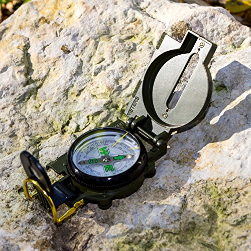 BlizeTec Survival Compass: Multipurpose Marching Lensatic Compass for Outdoor, Camping and Hiking (Green)