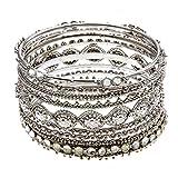 PammyJ Detailed Design Eight Piece Stackable Silvertone Crystal Bracelet Set