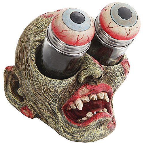 Zombie Head w/ Bugged Out Gouging Eyeballs Novelty Salt & Pepper Shaker Set