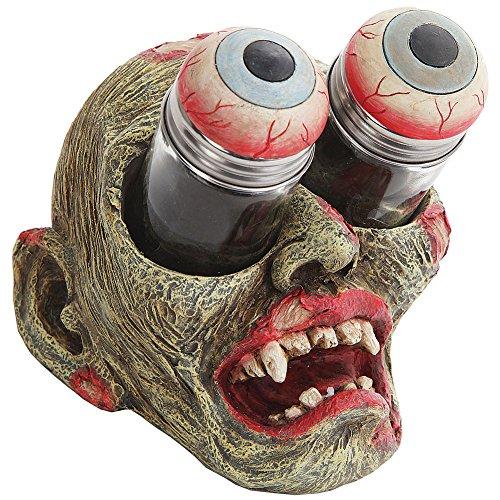 Zombie Head w/ Bugged Out Gouging Eyeballs Novelty Salt & Pepper Shaker Set