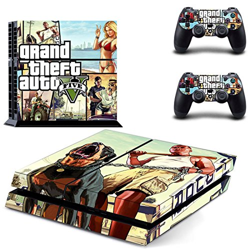 MightySticker® PS4 Designer Skin Game Console + 2 Controller Decal Vinyl Protective Covers Stickers for Sony PlayStation 4 - GTA V Grand Theft Auto 5 SA Liberty City Criminal Ganster Squad (Grand Theft Auto 5 Ps4 Shark Card compare prices)