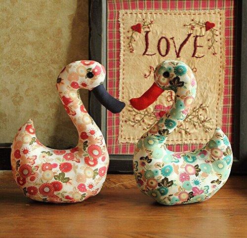 Cute couple Swan doll furnishings wedding press doll doll--Red