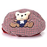 Lovely Baby Toddler Cap Hat Beret Cute Bear Gird Plaided Photography Prop Red