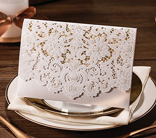 Krismile® 12 Printable Laser Cut White Wedding Invitation Card with Embossed Flower CW073 with Envelope & Seal
