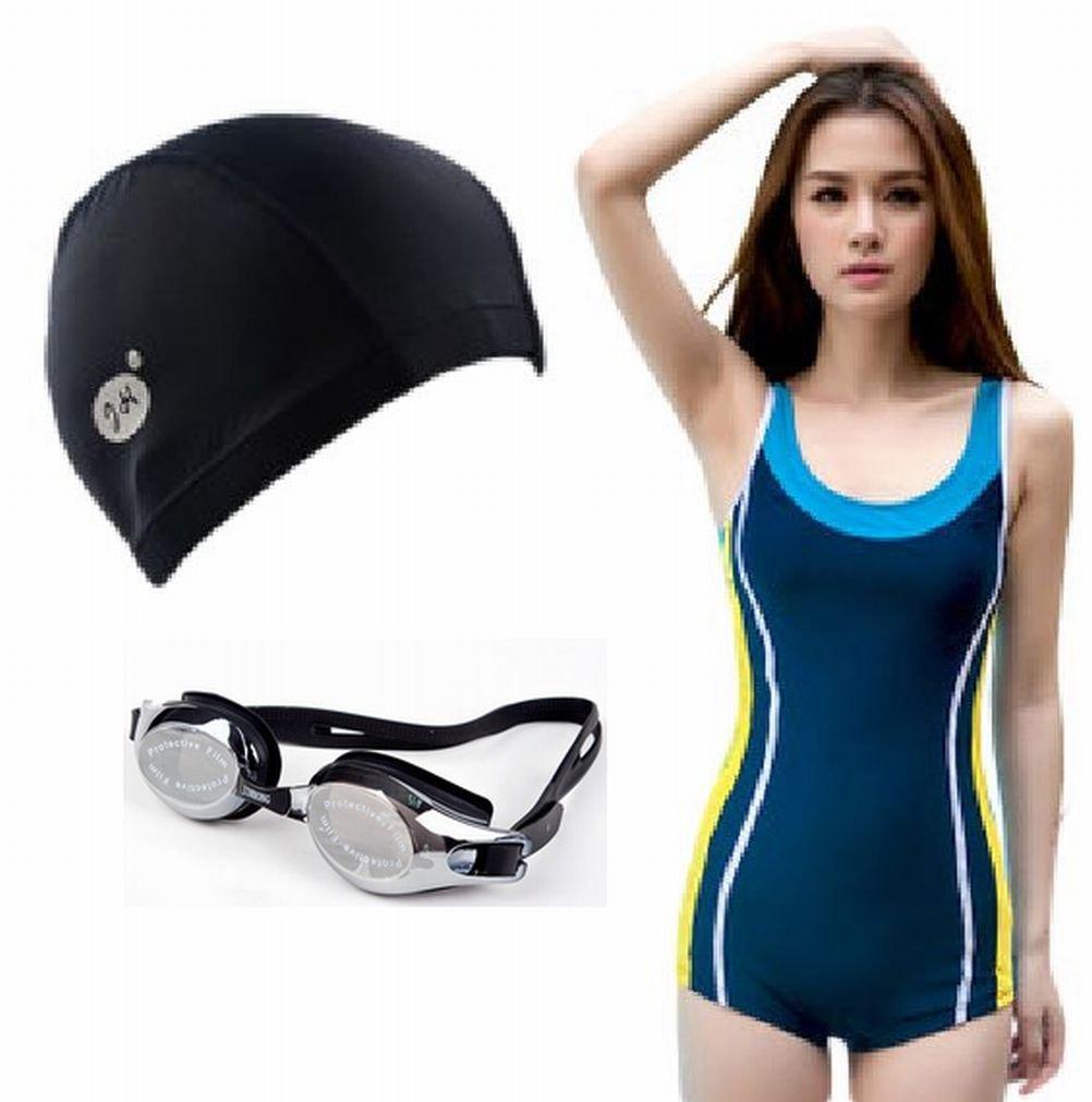 【 美ライン フィットネス 競泳水着 + スイムキャップ + ゴーグル 3点 セット レディース ネイビー  胸パット 入り 】