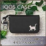 iQOS アイコス ケース レザー風 ワンポイントデザイン フック付 電子タバコ 猫(歩き) ブラック