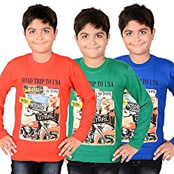 AEDI Little Casual T Shirts (Pack of 3) for Boys (5-6 Yrs)