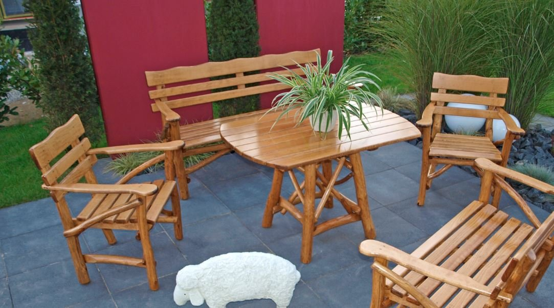 Knüppelholz- Garnitur MOSEL GROSS, 4-teilig, Eiche + Buche günstig kaufen
