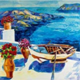 ArtzFolio White Houses And Flowers Of Oia Village At Santorini Island - Medium Size 18.1 Inch X 18.0 Inch - FRAMED...