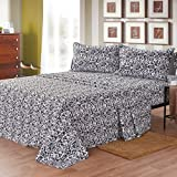 Maine Street Living Microfiber Baroque and Solid Sheet Set, Twin, Black, 2-Pack
