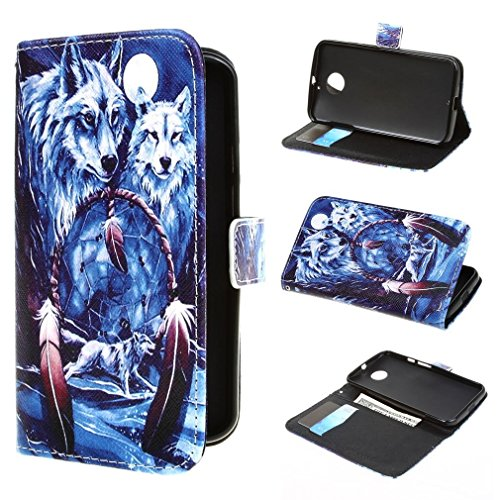 Bayke Brand / Motorola Moto X (2Nd Generation) Case , Elegant Fashion Print Style Dream Catcher Wolf Dreams Carol Cavalaris Pattern Design Pu Leather Wallet Type Flip Folio Design Protective Skin Cover With Credit Card Holder Slots Case For Motorola Moto