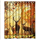 Lovable Picture Animal World Wildlife Cute Gentle Milu Deer Waterproof Fabric Bath Shower Curtain 60' x 72'