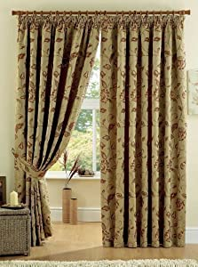 """REGENT GOLD 90"""" x 54"""" FLORAL FULLY LINED PENCIL PLEAT CURTAINS #YRUBYAM *CUR* from PCJ Supplies"""