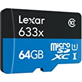 Lexar High-Performance 64GB MicroSDXC 633x Class10 UHS-I U1 High-Speed Flash Memory Card - LSDMI633R64GB (Latest Version) (Color: Blue / Black)