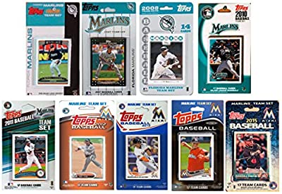 "MLB Miami Marlins 9 Different Licensed Trading Card Team Sets, 4"" x 7"""