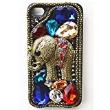 EVTECH(TM) Elegant Luxury 3D Bling Colorful Diamond Crystal Vintage Style Elephant Black Back Cover Case for iPhone 5 / 5S T-Mobile Sprint AT&T Verizon(100% Handcrafted)