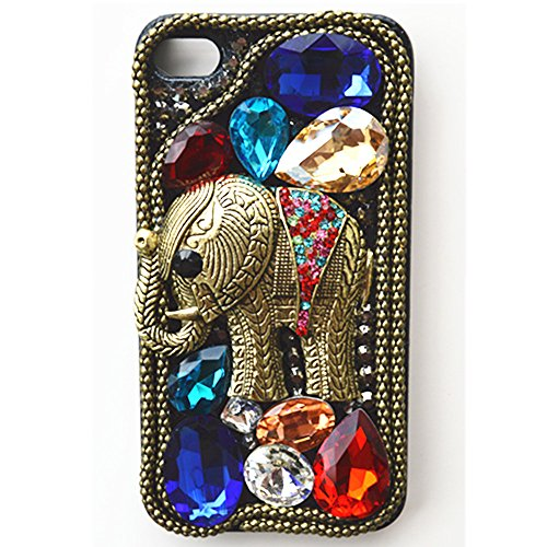 Best Buy! EVTECH(TM) Elegant Luxury 3D Bling Colorful Diamond Crystal Vintage Style Elephant Black B...