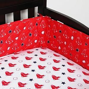 MLB Boston Red Sox Crib Bumper Baseball Bedding Accessory by Sports Coverage
