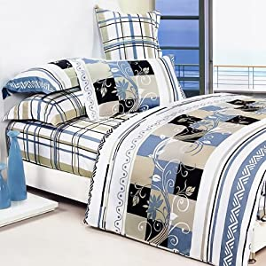 Blancho Bedding - [Floral Totem] 100% Cotton 4PC Comforter Cover/Duvet Cover Combo (Full Size)