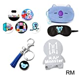 Youyouchard BTS Cartoon Image Accessories, BTS Bag + Tassel Keychain + Pin Badge + Eye Masks + Wood Foldable Phone Holder(RM) (Color: RM, Tamaño: without size)