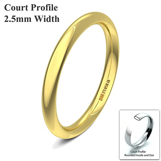 Xzara Jewellery - 9ct Yellow 2.5mm Heavy Court Profile Hallmarked Ladies/Gents 2.1 Grams Wedding Ring Band