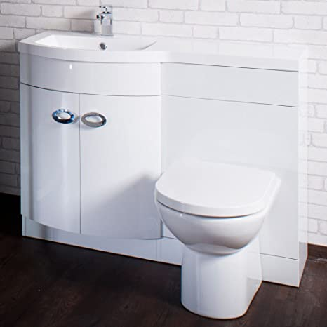 Emperor 1100mm White Gloss D Shape Bathroom Combination Furniture Package (Left Hand)