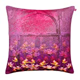 India Circus Pink and Blossoms Poly Velvet Cushion Cover - 16
