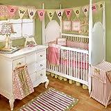 My Baby Sam Medallion Crib Bedding Set, Pink/Green