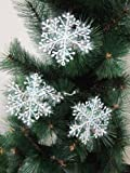 JS New Christmas Tree Decoration Glitter Snowflakes White