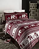 Empire Elephant Printed Animal Print Quilt/Duvet Cover Set Wine, Fully Reversible (King)