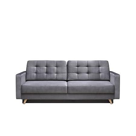 Modernes Sofa Vegas mit Schlaffunktion und Bettkasten, Farbauswahl, Design Couch, Lounge Schlafsofa, Polstersofa, Polstergarnitur, Polstercouch (Fuego 166)