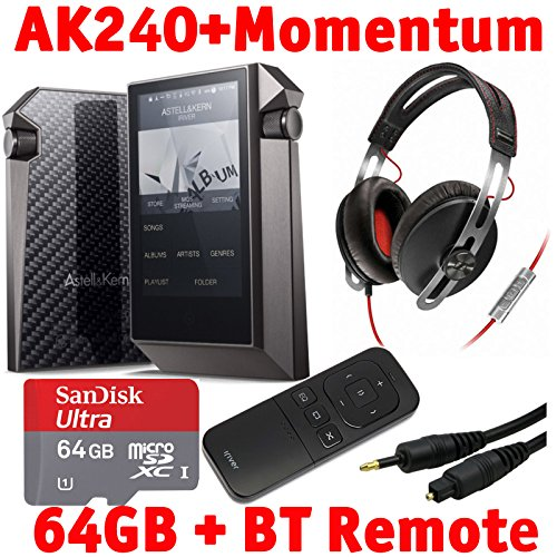 Astell & Kern Ak240 Mastering Quality Sound Dual Dac Dap With Sennheiser Momentum Headphones, Bluetooth Remote Control, 64Gb Microsd Card, And Emusic Optical Audio Connection Kit