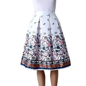 LIYT Women's Fashion High Waist Bubble Skirt Midi Skirt