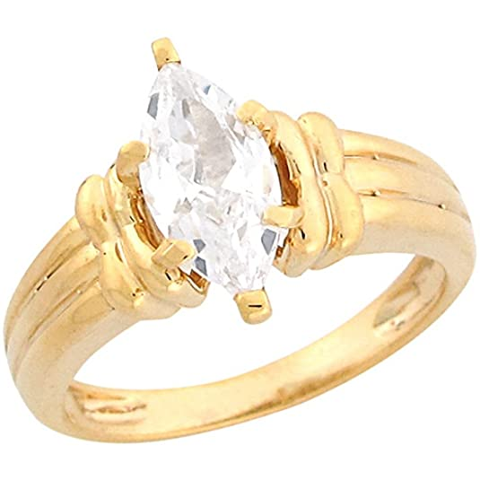 14ct Yellow Gold 2.02ct CZ Marquis Solitaire Rope Band Engagement Ring