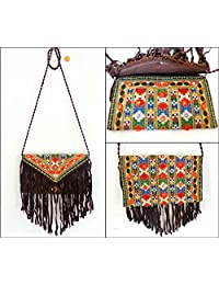 Megh Craft Women's Kutch Embroidery Indian Fringe Style Clutch Purse - Party Hand Clutch Purse