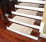 Dean Modern DIY Peel & Stick Bullnose Wraparound Non-Skid Carpet Stair Treads/Runner Rugs - Westin Fleck 30