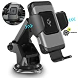 ZeeHoo Wireless Car Charger,10W Qi Fast Charging Auto-Clamping Car Mount,Windshield Dashboard Air Vent Phone Holder Compatible with iPhone Xs MAX/XS/XR/X/8/8+, Samsung S10/S10+/S9/S9+/S8/S8+ (Color: Black)