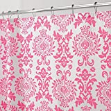 "Shower Curtain Hot Pink White Damask Print Elegant Scroll Design Fabric 72"" X 72"""