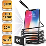 Wireless Endoscope, 1200p HD Snake Camera, Waterproof USB Endoscope, 2018 Upgraded WiFi Inspection Camera with 8 Adjustable Led Light for iOS/Android/Mac (Color: Black, Tamaño: 10M)