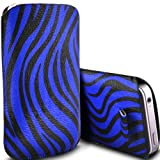 HTC One V Pull Tab Zebra Case PU Leather Pocket Pouch Cover in BLUE (L)