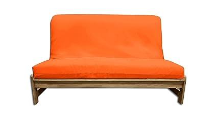 Sofá cama Fold-Bed, funda naranja, 140x200x30 cm