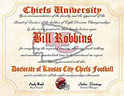 """Kansas City Chiefs Ultimate Fan Personalized Diploma - Perfect Gift - 8.5"""" x 11"""" Parchment Paper"""