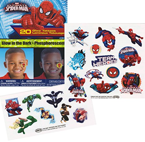 Marvel Spider-man Glow in the Dark Temporary Tattoos - 1